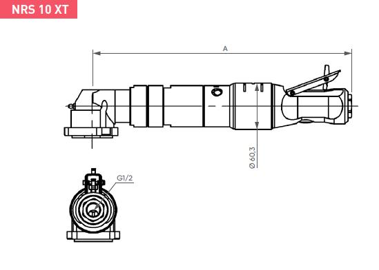 Schéma d'encombrement pour le moteur pneumatique NRS10XT