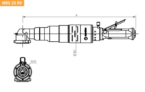 Schéma d'encombrement pour le moteur pneumatique NRS20RV