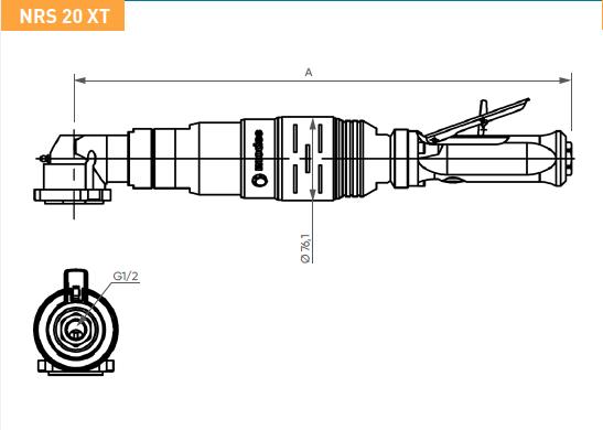 Schéma d'encombrement pour le moteur pneumatique NRS20XT
