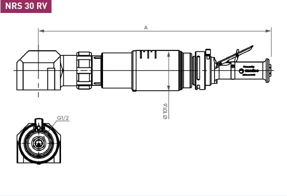 Schéma d'encombrement pour le moteur pneumatique NRS30RV