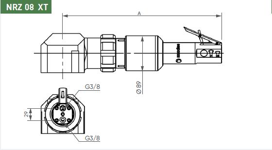 Schéma d'encombrement pour le moteur pneumatique NRZ08XT