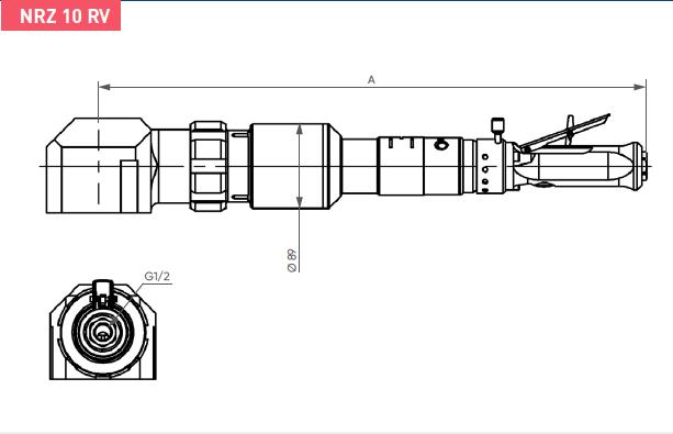 Schéma d'encombrement pour le moteur pneumatique NRZ10RV