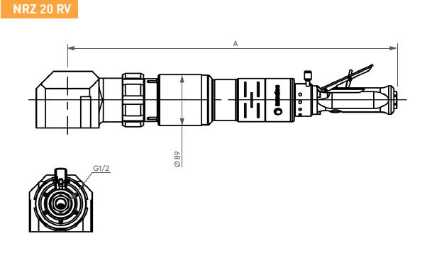 Schéma d'encombrement pour le moteur pneumatique NTZ20RV