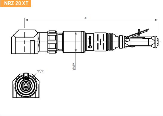 Schéma d'encombrement pour le moteur pneumatique NRZ20XT