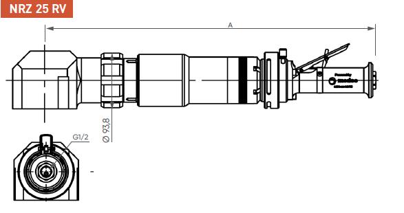 Schéma d'encombrement pour le moteur pneumatique NRZ25RV