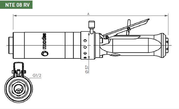 Schéma d'encombrement pour le moteur pneumatique NTE08RV