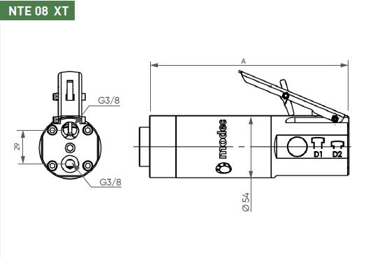 Schéma d'encombrement pour le moteur pneumatique NTE08XT