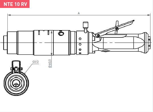Schéma d'encombrement pour le moteur pneumatique NTE10RV