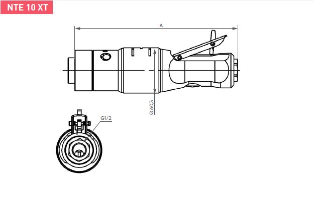 Schéma d'encombrement pour le moteur pneumatique NTE10XT
