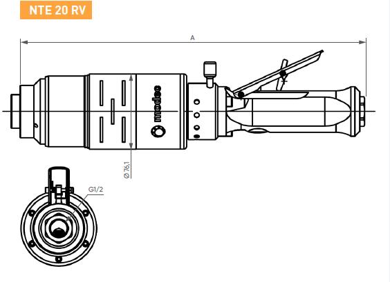 Schéma d'encombrement pour le moteur pneumatique NTE20RV