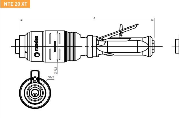 Schéma d'encombrement pour le moteur pneumatique NTE20XT