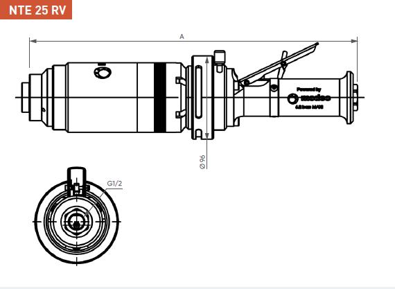 Schéma d'encombrement pour le moteur pneumatique NTE25RV