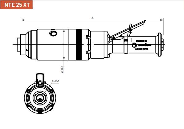 Schéma d'encombrement pour le moteur pneumatique NTE25XT