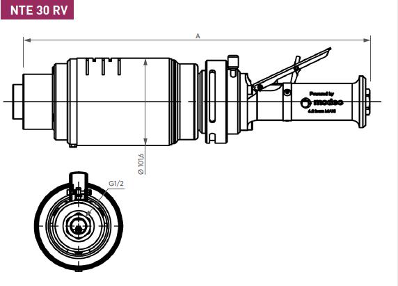 Schéma d'encombrement pour le moteur pneumatique NTE30RV