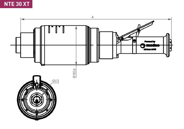 Schéma d'encombrement pour le moteur pneumatique NTE30XT