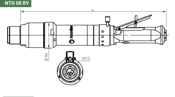 Schéma d'encombrement pour le moteur pneumatique NTH08RV