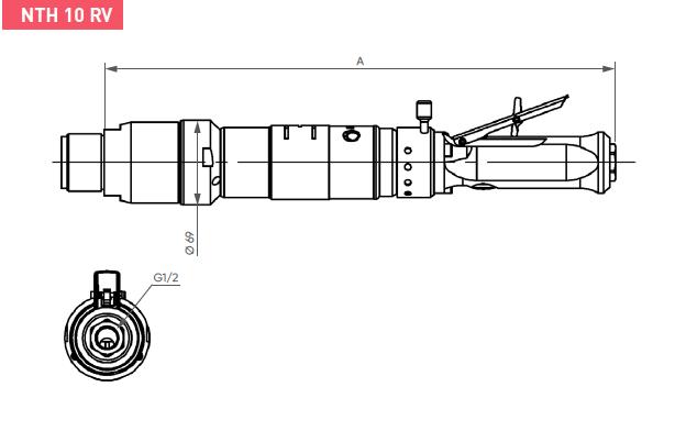 Schéma d'encombrement pour le moteur pneumatique NTH10RV