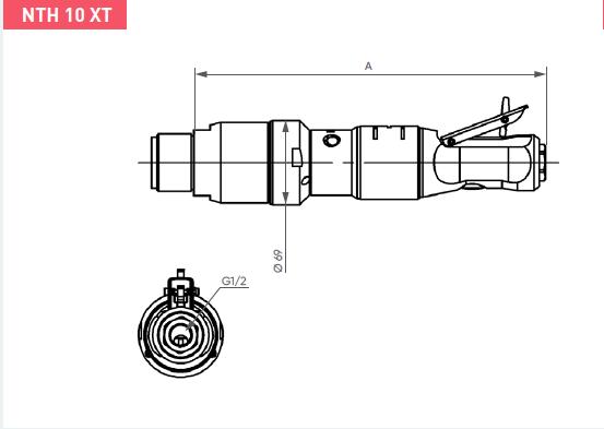 Schéma d'encombrement pour le moteur pneumatique NTH10XT
