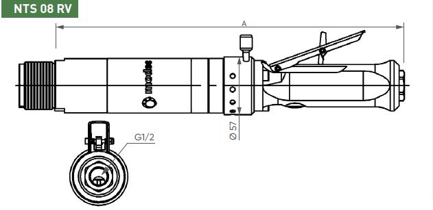 Schéma d'encombrement pour le moteur pneumatique NTS08RV