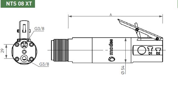 Schéma d'encombrement pour le moteur pneumatique NTS08XT