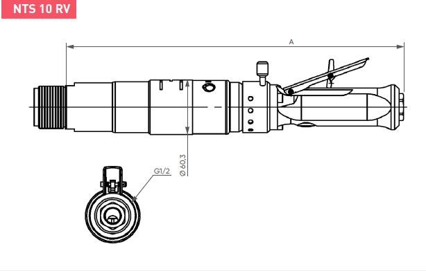 Schéma d'encombrement pour le moteur pneumatique NTS10RV