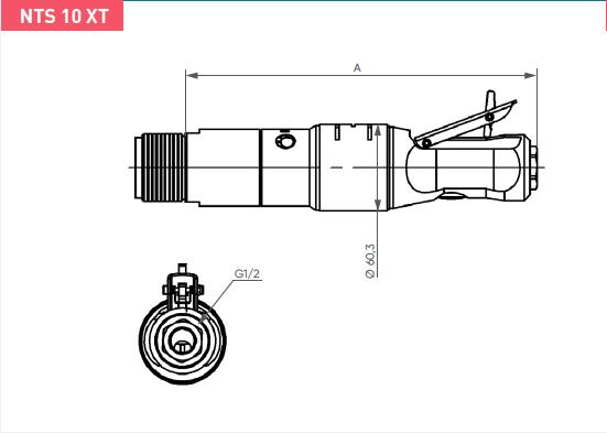 Schéma d'encombrement pour le moteur pneumatique NTS10XT