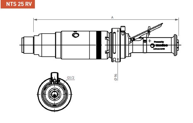 Schéma d'encombrement pour le moteur pneumatique NTS25RV