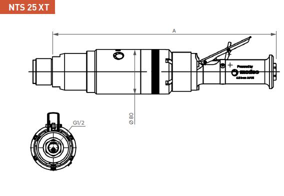 Schéma d'encombrement pour le moteur pneumatique NTS25XT