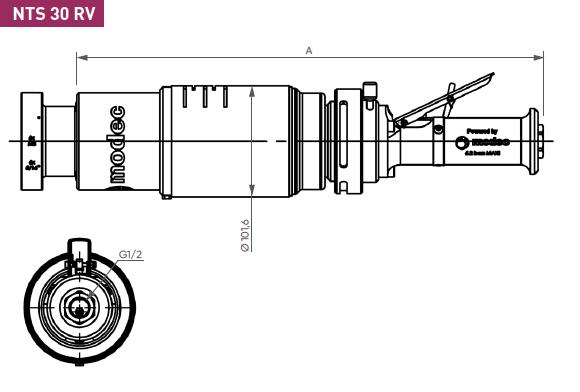 Schéma d'encombrement pour le moteur pneumatique NTS30RV