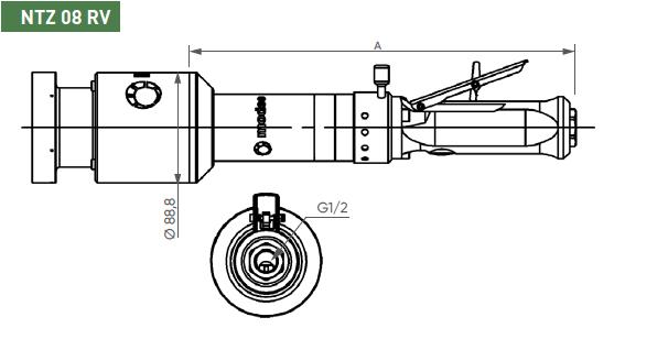 Schéma d'encombrement pour le moteur pneumatique NTZ08RV