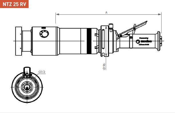 Schéma d'encombrement pour le moteur pneumatique NTZ25RV