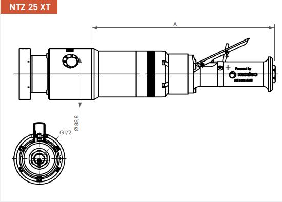 Schéma d'encombrement pour le moteur pneumatique NTZ25XT
