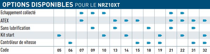Option disponible pour le moteur pneumatique NRZ10XT