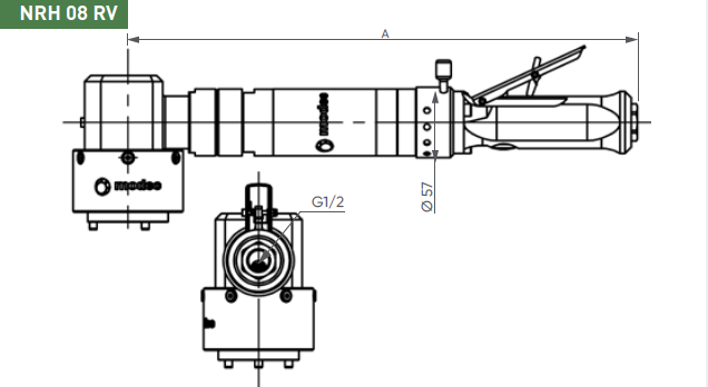 Dimensional drawing for the NRH08RV air motor