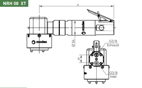 Dimensional drawing for the NRH08XT air motor